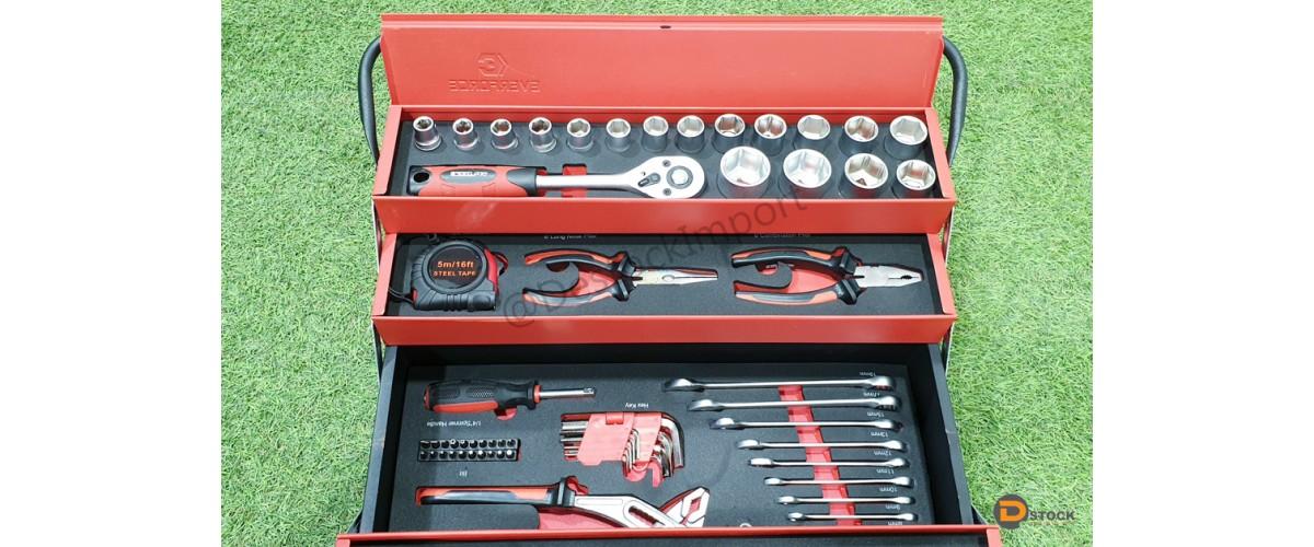 Boîte à outils DIY Tools (pleine : 86 pièces) vintage à 5 compartiments