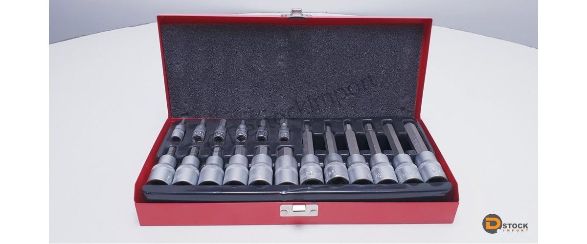 COFFRET 18 DOUILLES 6 PANS BTR ACIER CHROME VANADIUM