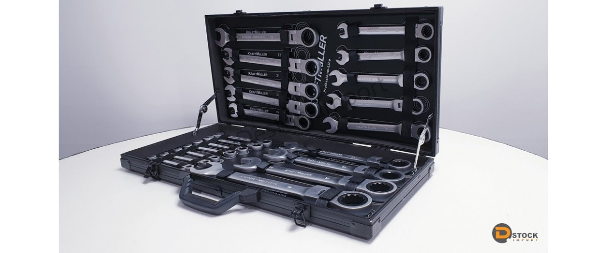 Belle Coffrets - 22 pièces de clés plates à cliquet articulées - Dstock VO-24